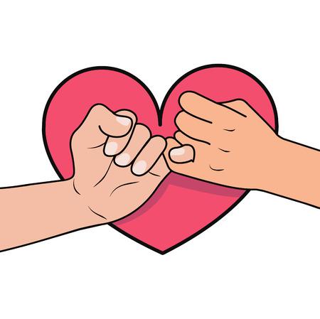 promesse pinky avec forme de coeur