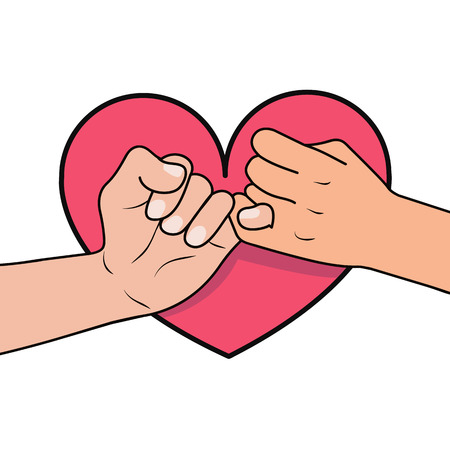 pinky promise with heart shape Illustration