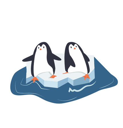 penguins on a piece of iceberg