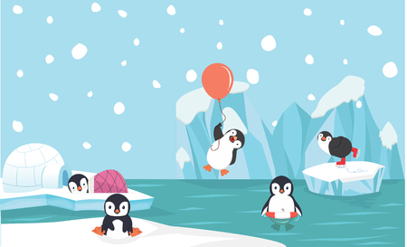 Cute penguin characters  set withNorth pole  background Çizim
