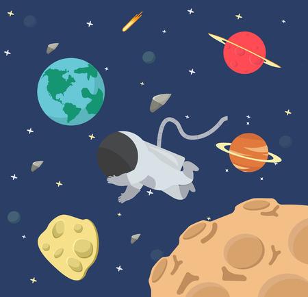 Astronaut  in space flat design