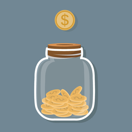 Saving flat coin in jar concept