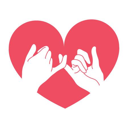 hand getrokken pink belofte met hartvorm