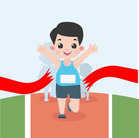 the boy jogging marathon race Illustration