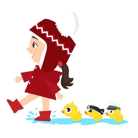 small Girl with Ducks swim