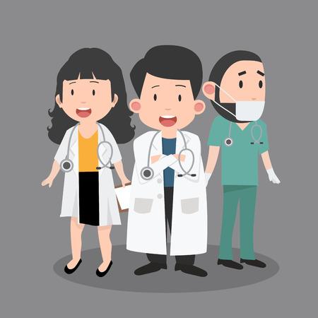 Variety of  doctor cartoon set