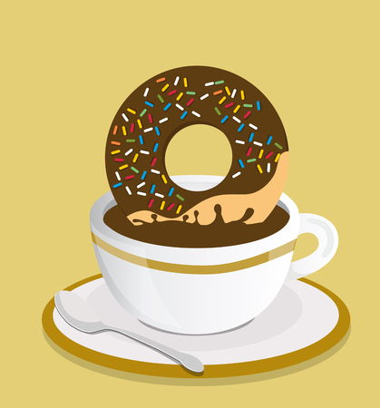 Black coffee cup with donut vector Stock Illustratie