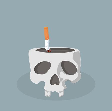 Crâne avec vecteur de mégot de cigarette