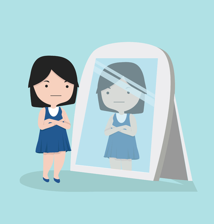 Small girl looking  standing in front of the mirror