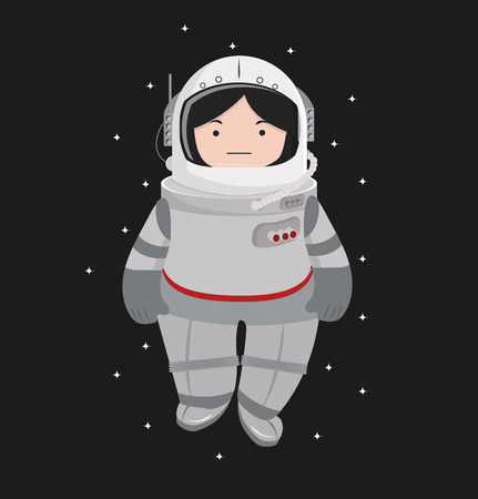 Small girl Astronaut helmet  in a space