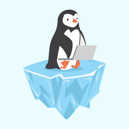 penguin with notebook on ice floe Banque d'images - 110896866
