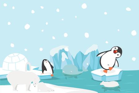 Artic animal North pole Arctic landscape Illustration