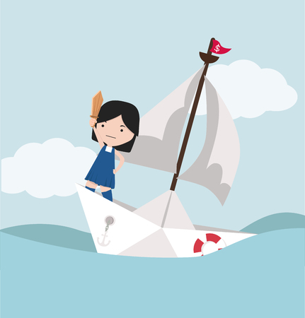 Small girl  with sword standing on paper boat  イラスト・ベクター素材
