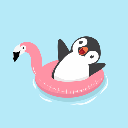 Cute Penguin with flamingo float