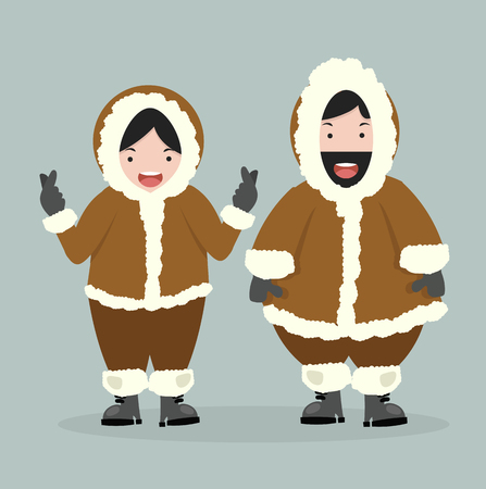 couple Eskimo  in flat design