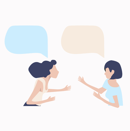 womans talk with speech bubbles