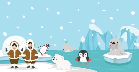 Eskimos z Artic zwierzęcym tłem
