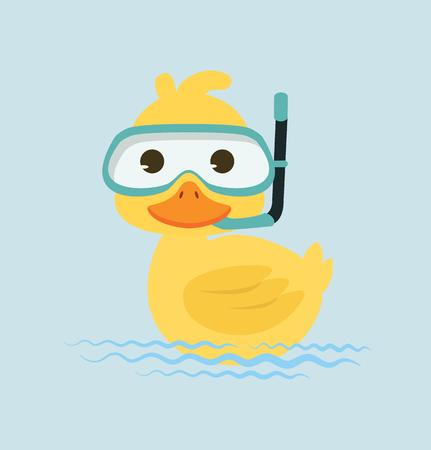 Duck Snorkeling in water