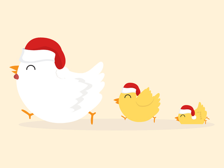 chicken family with red hat