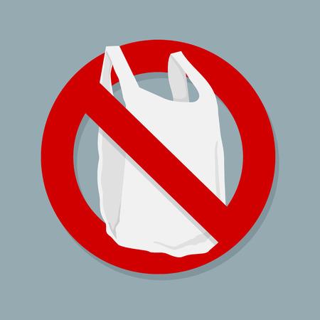 Zeg geen plastic zakken Teken geïsoleerd