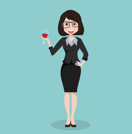 costume de fille d'affaires avec verre de vin