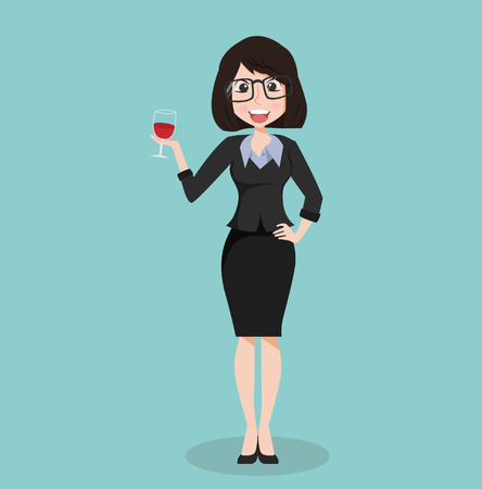 business girl suit with glass of wine Illustration