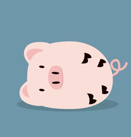 Cute Sleeping pink Pig vector Vectores