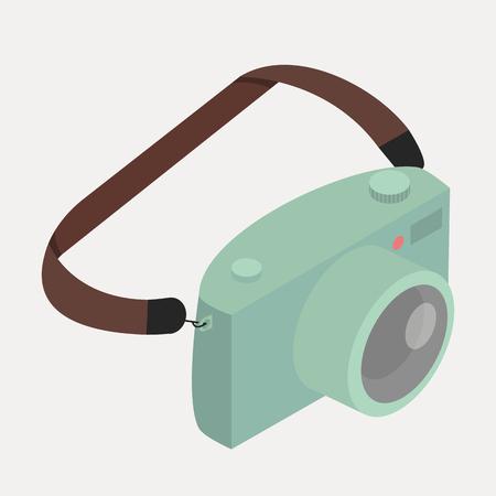Retro green camera with strap