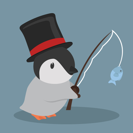 Cute penguin fishing vector