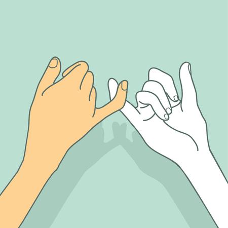 Concetto di vettore di mani promesse mignolo