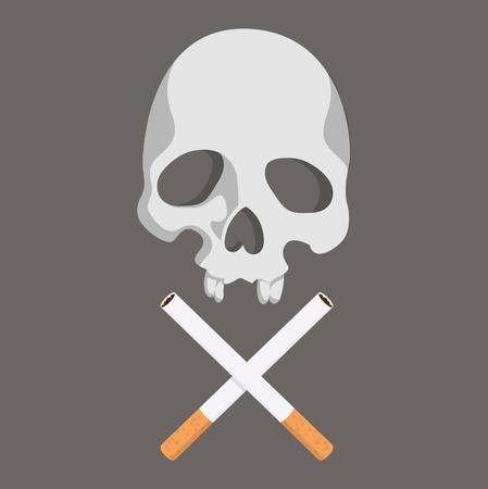 Cigarette butt with Skull vector Vector Illustration