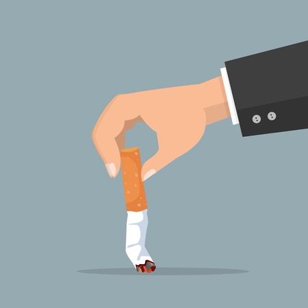 hand extinguishing a Cigarette butt vector Illustration