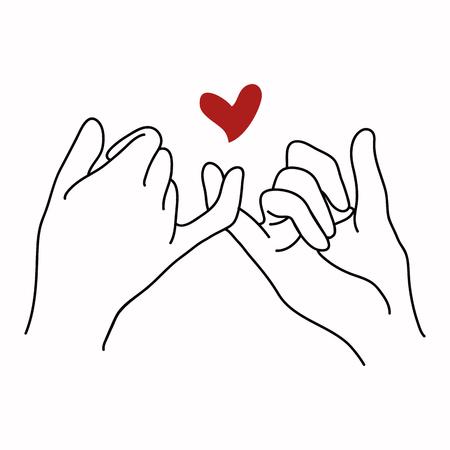 Versprechen Umrissvektor mit rotem Herzen Vektorgrafik