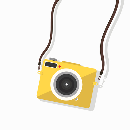 hanging yellow camera mini vector