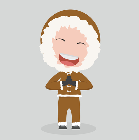 Eskimo man in flat design Illustration