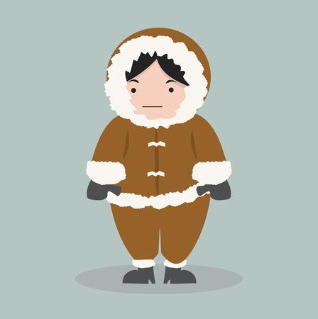 funny Eskimo girl in flat design Vetores