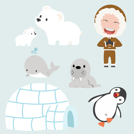 Vector set of eskimo flat design