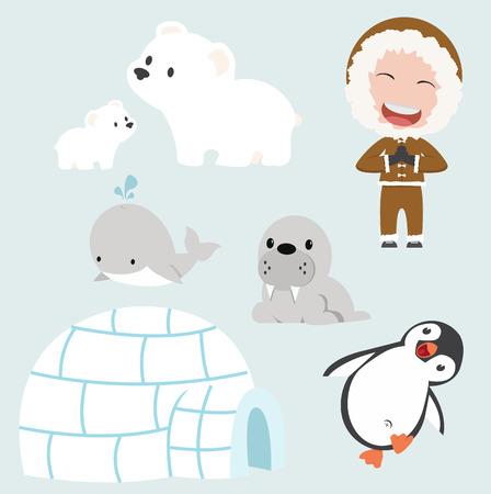 Vector set of eskimo flat design