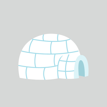 Igloo ice house in flat design Illustration