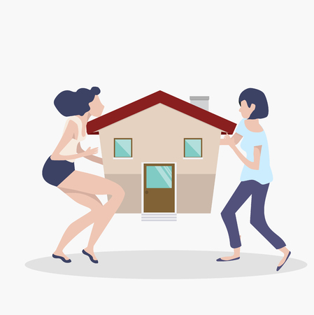 womans teamwork concept with house