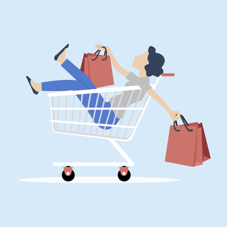 woman sitting in shopping cart with bag Vektorové ilustrace