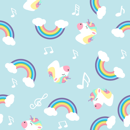 Pastel rainbow unicorn with note seamless pattern