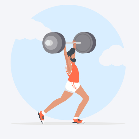 man Lifting Weights over head Stock Vector - 117831533