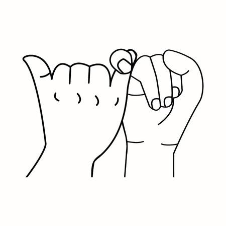 promise hands outline vector Vecteurs