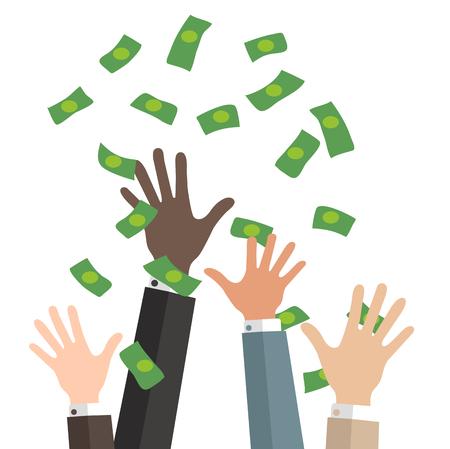 manos de negocios capturan dinero que cae Ilustración de vector
