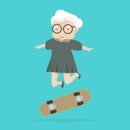 old woman jump with skateboard