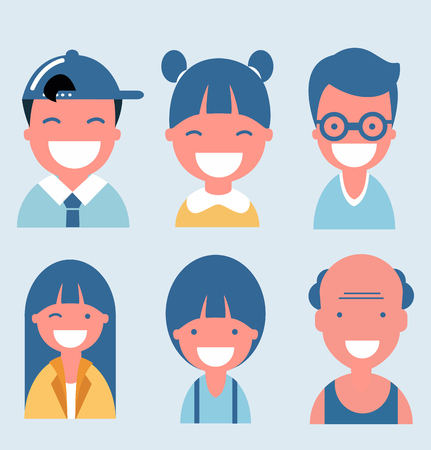 Flat happy smiling people collection Illustration