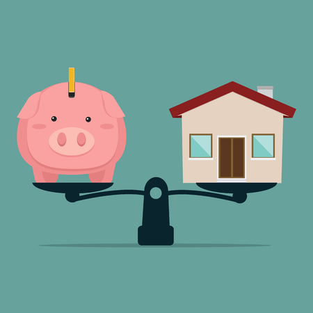 Piggy Bank and house on weighing machine Banque d'images - 124976526