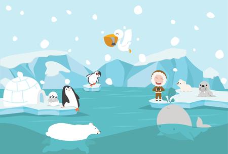 Cartoon North pole Arctic landscape Standard-Bild - 124941250