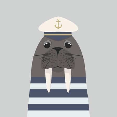 walrus captain with sailor Ilustracja